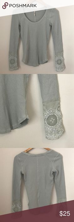 Free People Top Free People Top. Detail on Sleeve. Excellent preowned condition. Soft sea foam green color Free People Tops