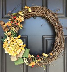 Natural looking Fall grapevine wreath with yellow by SimpleWreath