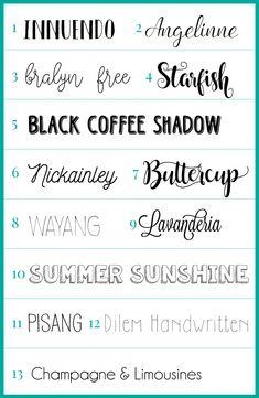 Fontes usadas no Planner 2017 Word Fonts, Hand Lettering Fonts, Lettering Tutorial, Handwritten Fonts, Calligraphy Fonts, Photoshop Fonts, Old English Font, Chalkboard Fonts, Font Packs