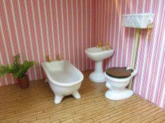Vintage Dollhouse Bathroom Furniture, Miniature Bathtub, Toilet And Sink,  Porcelain Victorian Doll House Bathroom