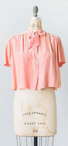 Carnation Petal Blouse c.1940s   vintage 1940s blouse