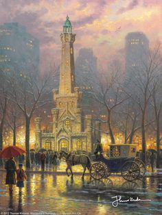 """""""Winter at the Water Tower"""" Chicago by Thomas Kinkade 1/25/14"""