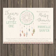 Dreamcatcher Baby Shower Invitation Tribal Boho by PartyPopInvites