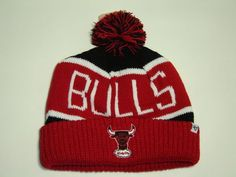 47 Brand NBA Chicago Bulls Red Cuffed Knit Beanie Cap with Pom