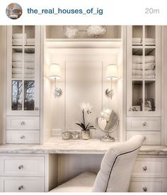 Love the shelving above the counter... easy reach when doing makeup... wish there was a big mirror on the wall to go with the smaller up-close mirror for details.