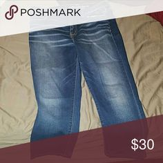 American eagle hi rise jeggings cropped jeans Only worn once. Smoke free, pet friendly home. No holds/trades/returns! PayPal accepted. Inseam approximately 24 inches. Super super stretch denim. American Eagle Outfitters Jeans Ankle & Cropped