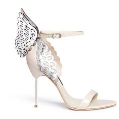 Sophia Webster 'Evangeline' metallic lasercut Angel Wing leather... ($600) ❤ liked on Polyvore featuring shoes, sandals, neutral, angel wing sandals, laser cut sandals, metallic sandals, sophia webster shoes and metallic leather sandals