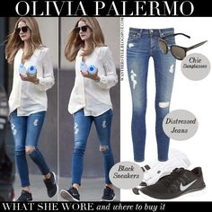 WHAT SHE WORE: she wore white shirt, blue skinny distressed jeans by AG Adriano Goldschmied, black Nike sneakers and black Christian Dior su...