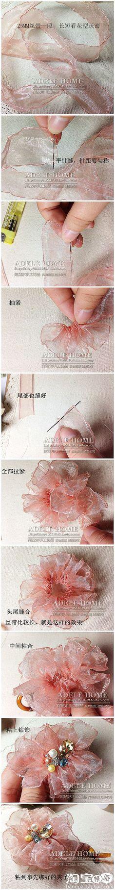 tutorial ribbon rossett rose how to Ribbon Art, Fabric Ribbon, Ribbon Crafts, Flower Crafts, Ribbon Bows, Ribbon Flower, Ribbons, Organza Flowers, Lace Flowers