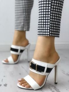 Shop Buckled Peep Toe Thin Heeled Sandals – Discover sexy women fashion at Boutiquefeel Stilettos, Pumps Heels, Stiletto Heels, Heeled Sandals, Sandal Heels, Strap Heels, Ankle Strap, Peep Toes, Sandals Outfit