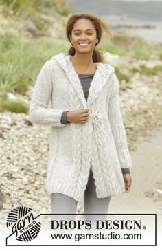 Melody of Snow / DROPS 172-4 - Knitted DROPS jacket with cables and hood in Melody. Size XS/S - XXXL.