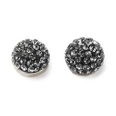 Stately Steel Crystal-Covered Stud Earrings