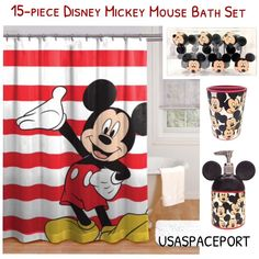 15pc Piece Mickey Mouse Bath Set Toothbrush Holder Shower Curtain 12 Shower Hooks Lotion Soap Pump Ebay In 2020 Shower Curtain Hooks Soap Pump Mickey Mouse