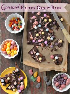 Intead of storing extra Easter candy, make this best recipe for Gourmet Chocolate Easter Candy Bark. Fun, unexpected, great to share or freeze for later. Gluten-free.