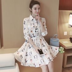 2016 New Korean Spring Fashion Women Lapel Printing Long Sleeve Slim Shirt Dress | eBay