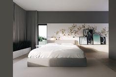 Linda combinacion wallpaper mural con cuadros apoyados en ripiano en forma asimetrica. JOZEFOSLAW NEAR WARSAW // KUOO Architects
