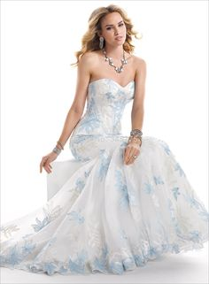 blue and white wedding dress - Google Search | wedding | Pinterest ...