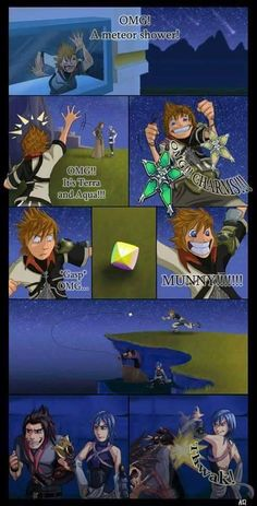 Terra and Aqua and Ventus. I love how everyone in the fandom sees this exact dynamic between the three of them even though they really don't act like this at all in the game Kingdom Hearts 3, Funny Comics, Final Fantasy, Funny Images, Game Art, Anime, Geek Stuff, My Favorite Things, Fandoms