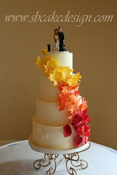 Fall Leaves Wedding Cake - Cake by SB Cake Design