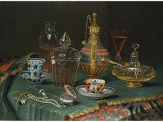 Christian Berentz, 1658 - 1722 STILL LIFE WITH CRYSTAL VESSELS, PORCELAIN MUG AND A CLOCK