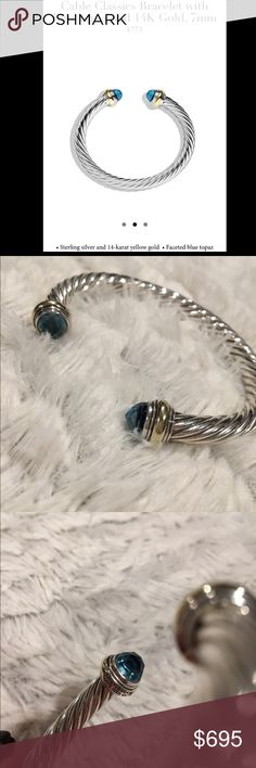 David Yurman Classic Cable Bracelet 100% AUTHENTIC David Yurman Sterling Silver Cable and 14-Karat yellow gold, faceted blue topaz  the bracelet is 7mm wide which would typically fit as medium to a large wrist. Barely worn and beautifully kept. Serious Inquires Only!  David Yurman Jewelry Bracelets