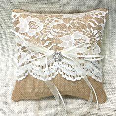 Burlap and Lace Ring Bearer Pillow-Great for the bride who wants a little elegance with her rustic theme.