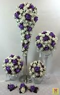CREAM WHITE/PURPLE FOAM ROSES BRIDAL FLOWERS TEARDROP  WEDDING BOUQUET SET