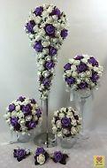 CREAM WHITE/PURPLE FOAM ROSES BRIDAL FLOWERS TEARDROP  WEDDING BOUQUET SET