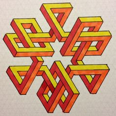 Impossible on Behance Isometric Drawing, Isometric Design, Art Optical, Optical Illusions, Math Design, Design Art, Geometry Art, Sacred Geometry, Op Art