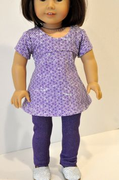 American Girl Doll Clothes Purple Empire Waist by CircleCSewing Sewing Doll Clothes, American Doll Clothes, Girl Doll Clothes, Doll Clothes Patterns, Girl Dolls, Ag Dolls, Boy Doll, Doll Patterns, Girls Pants