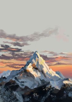 Digital Painting Everest Mountain on Behance Mountain Drawing, Mountain Art, Mountain Landscape, Landscape Concept, Landscape Art, Landscape Photography, Water Lilies Painting, Monet Water Lilies, Aesthetic Painting