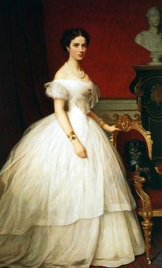 Dagmar wearing crinoline dress color portrait, Maria Feodorovna, c.1860.: