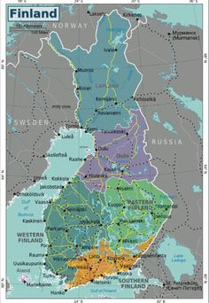 Map of Finland. Looking into the origin on my last name, my ancestors were from Western Finland Helsinki, Finnish Language, Finland Travel, Voyager Loin, Lofoten, Free Travel, Countries Of The World, Places To See, Parks