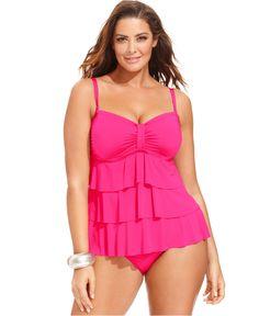 0e1e9a33f6c4f Kenneth Cole Reaction Plus Size Tiered Ruffle Tankini Top - Swimwear - Plus  Sizes - Macy's