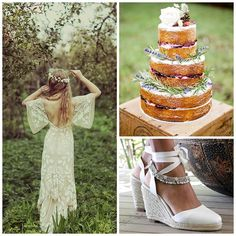 """Whimsical wedding inspiration for tonight: @ruedeseinebridal x Gypsy Queen wedge x Sienna anklets. What do you think about naked cakes, yay or nay? """