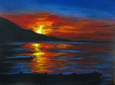 Art-3000: Picture Sunset seascape acrylic painting (easy acrylic painting idea)