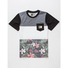 Lira Floral Band Boys Pocket Tee ($20) ❤ liked on Polyvore featuring tops, t-shirts, crew neck tee, floral tee, floral print t shirt, crew-neck tee and floral pocket tee