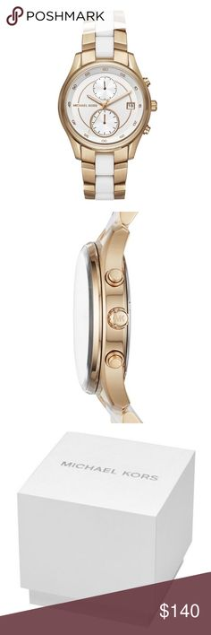Michael Kors Women's Briar Gold Tone Watch Michael Kors Women's Briar Gold Tone Steel White Silicone Watch 40mm MK6466  item# 272893307485  100% Authentic Michael Kors!  Buy with confidence!  • MSRP: $275.00  • Style: MK6466  Features:  Gold-tone stainless steel case with a gold-tone with white silicone stainless steel bracelet. Fixed gold-tone stainless steel bezel. White dial with gold-tone hands. Minute markers around the outer rim. Dial Type: Analog. Date display at the 3 o'clock…
