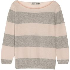 Autumn Cashmere Striped cashmere sweater (165 CAD) ❤ liked on Polyvore featuring tops, sweaters, pastel pink, loose sweater, stripe sweater, autumn cashmere sweaters, pink top and autumn cashmere