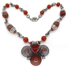 Vintage Czech Art Deco Carnelian Raised Filigree Glass Bead Necklace | Clarice Jewellery | Vintage Costume Jewellery