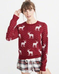 Moose Pattern Crew Sweater