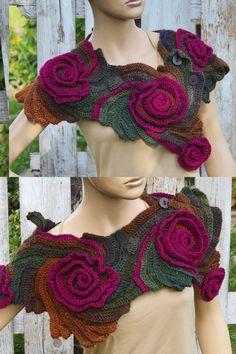 Crochet Scarf CapeletSchadows BrownPurple Roses by on Etsy Crochet Caplet, Freeform Crochet, Crochet Scarves, Crochet Hooks, Knit Crochet, Hand Crochet, Unique Crochet, Free Crochet, Single Crochet Stitch