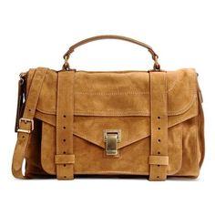 Proenza Schouler PS1 Suede Messenger Bag ($1,780) ❤ liked on Polyvore featuring bags, messenger bags, brown, brown messenger bag, top handle satchel handbags, top handle satchel, courier bag and suede satchel