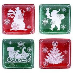 As festive as it gets. In beautiful holiday colors of red or green and wishing your guests warm seasonal holiday wishes, have fun with the whimsical flair of this Santa's Workshop design from Certified International. This Beautiful set of square canape plates will impress your guests with a busy Santa in his workshop. Earthenware. Dishwasher and microwave safe.