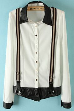 PU Lapel Spliced Strap Long-sleeved Chiffon Shirt #Romwomen