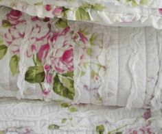 Shabby French Country Chic Pink Cottage Roses Rag Ruffle Couch Throw Bed Quilt