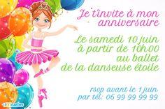 Invitation anniversaire ballerine gratuite à personnaliser et à télécharger et imprimer avec l'illustration d'une danseuse étoile en tutu rose.