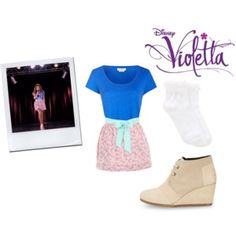 A fashion look from September 2015 featuring short sleeve t shirt, lace socks and floral skirts. Browse and shop related looks. Violetta Outfits, Violetta Disney, Violetta And Leon, Lace Socks, Teenager Outfits, School Outfits, Fashion Looks, Fashion Tips, Couture