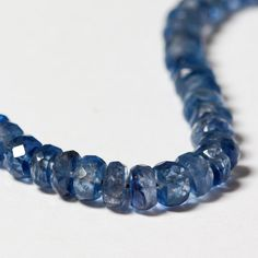 Kyanite  Micro Faceted Rondelle Beads Graduated 3mm - 4.6mm  - 20 beads