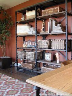 Great bookshelf. I love rustic industrial